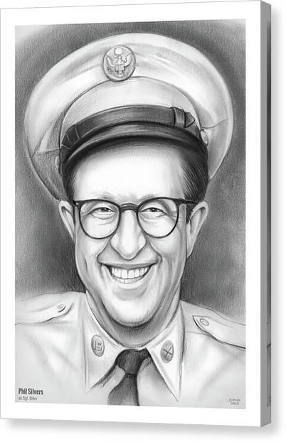 Silver Canvas Print - Phil Silvers As Sgt Bilko by Greg Joens