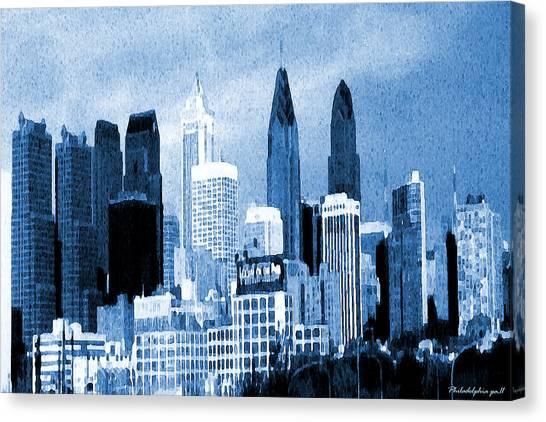 Philadelphia Blue - Watercolor Painting Canvas Print