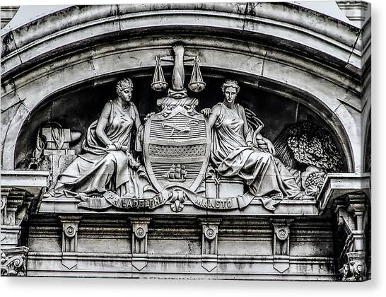 Canvas Print - Philadelphia City Seal - City Hall  by Bill Cannon