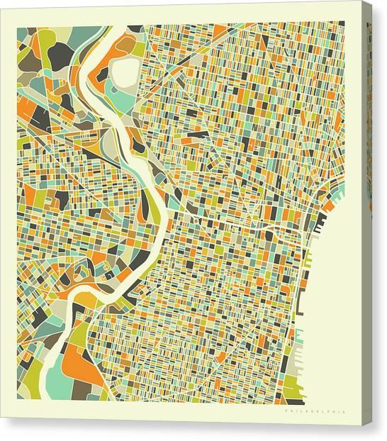 Pennsylvania Canvas Print - Philadelphia Map 1 by Jazzberry Blue