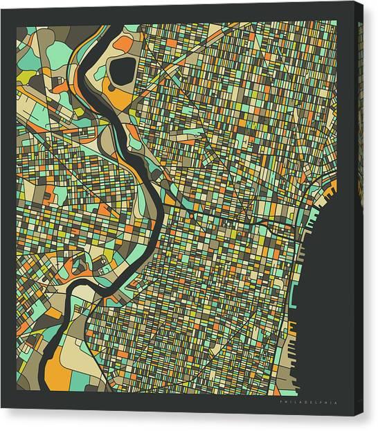 Pennsylvania Canvas Print - Philadelphia Map 2 by Jazzberry Blue