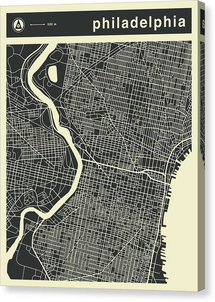 Philadelphia Canvas Print - Philadelphia Map 3 by Jazzberry Blue
