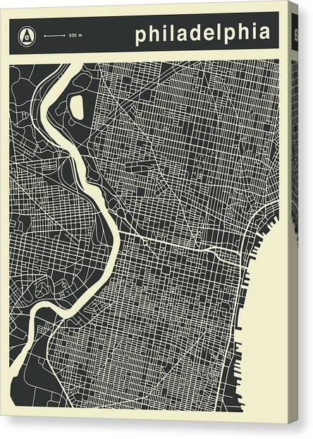 Pennsylvania Canvas Print - Philadelphia Map 3 by Jazzberry Blue