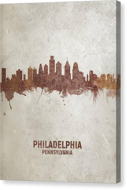Pennsylvania Canvas Print - Philadelphia Pennsylvania Rust Skyline by Michael Tompsett