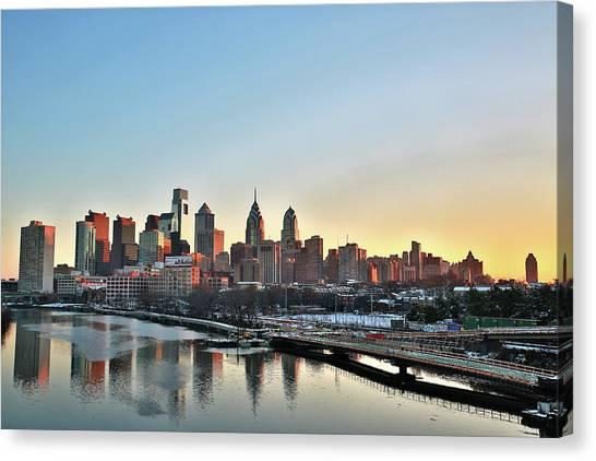 Philly Illuminated Canvas Print by Valentin Prokopets