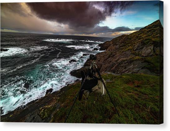Photo Gear On Landscape Shot Canvas Print