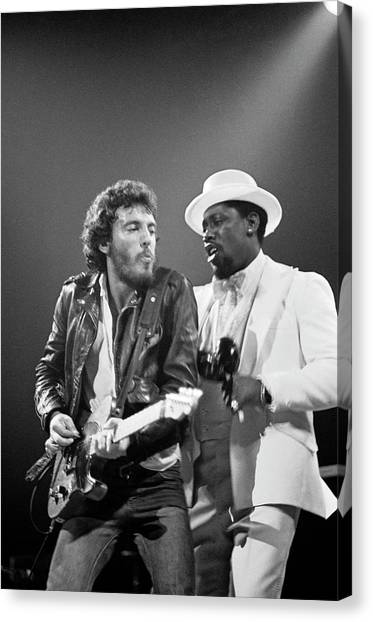 Photo Of Bruce Springsteen And Clarence Canvas Print by Fin Costello