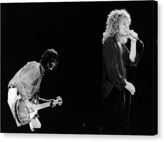 Jimmy Page Canvas Print - Photo Of Jimmy Page And Robert Plant by Graham Wiltshire