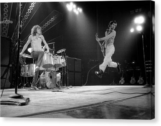 Photo Of Pete Townshend And Roger Canvas Print by David Redfern