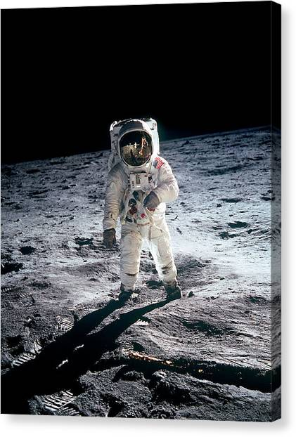 Photograph Of Edwin Aldrin Taken During Canvas Print
