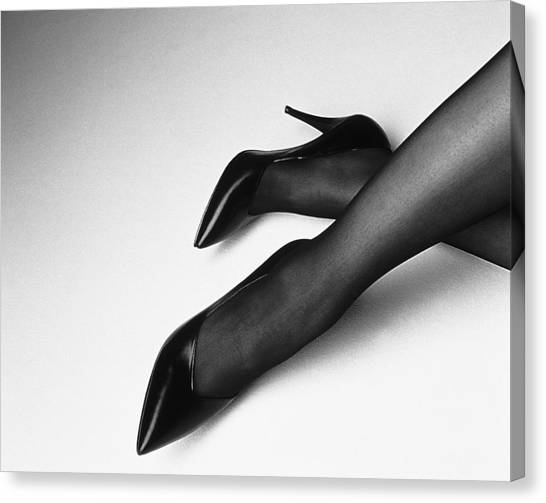 93184d4ea69 White Stockings Canvas Print - Photography Of Womans Legs With High by Daj