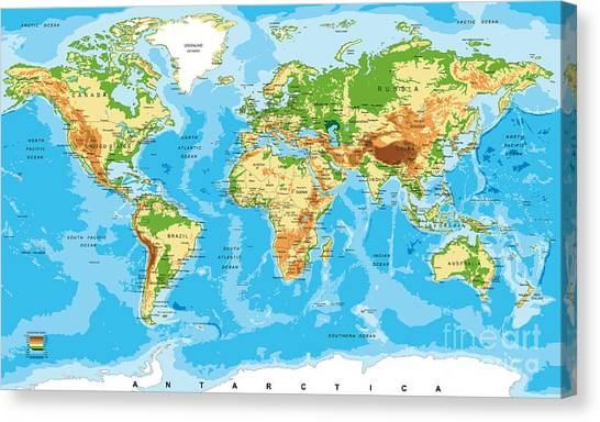 Illustration Canvas Print - Physical Map Of The World by Serban Bogdan