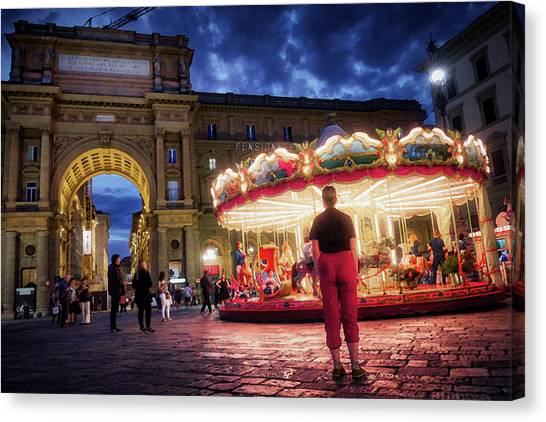 Piazza Della Reppublica At Night In Firenze With Painterly Effects Canvas Print