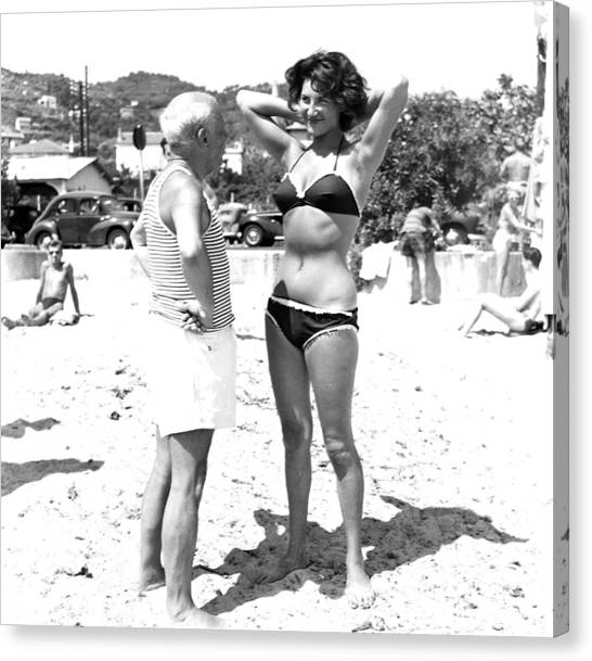 Picasso And Bikini-clad Woman On The Canvas Print