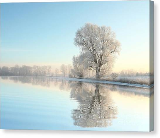 Hoarfrost Canvas Print - Picturesque Winter Landscape Of Frozen by Paul Aniszewski