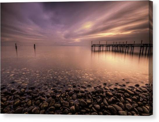 Lake Geneva Canvas Print - Pier On Lake by Philippe Saire - Photography