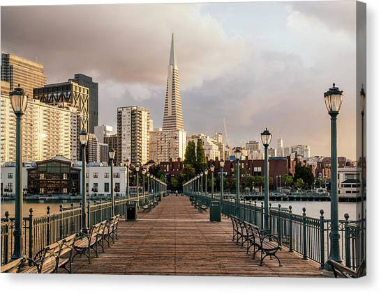 Pier Seven And Transamerica Pyramid Canvas Print by Alexander Spatari