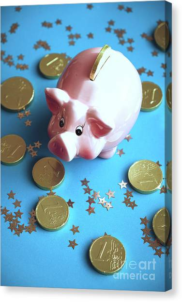 Piggy Bank On The Background With The  Chocoladen Coins Canvas Print