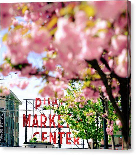 Canvas Print featuring the photograph Pike Place Market In Seattle by Nicole Young