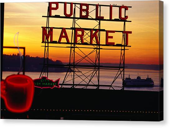 Pike Place Market Sign, Seattle Canvas Print