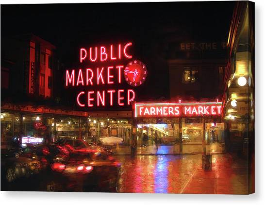 Fish Market Canvas Print - Pike Place Public Market Seattle Washington By Night by Carol Japp