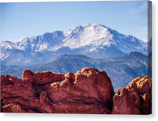 Pikes Peak And The Kissing Camels Canvas Print
