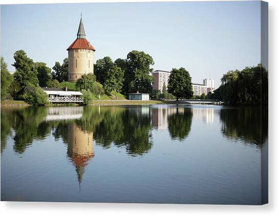 Pildammsparken In Malmo Canvas Print by Secablue