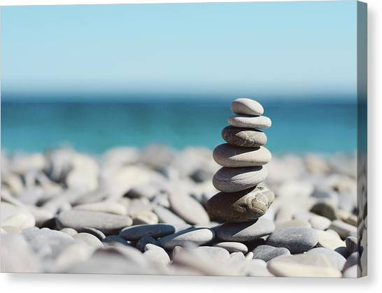 Horizontal Canvas Print - Pile Of Stones On Beach by Dhmig Photography