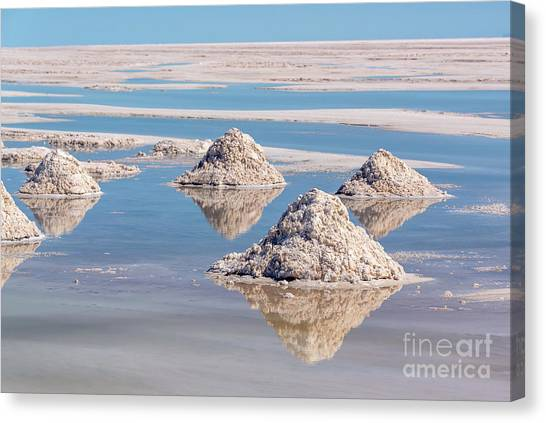 Andes Mountains Canvas Print - Piles Of Salt In Salar De Uyuni by Delphimages Photo Creations