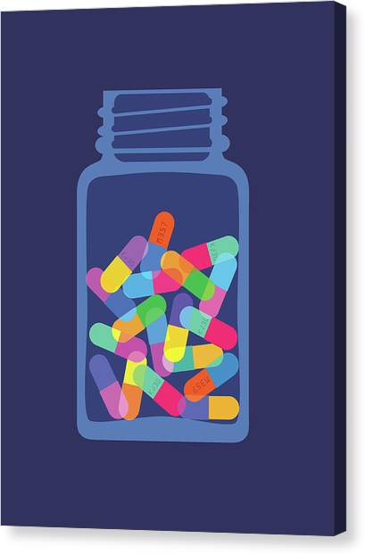 Pills And Capsules In Bottle Canvas Print by Smartboy10