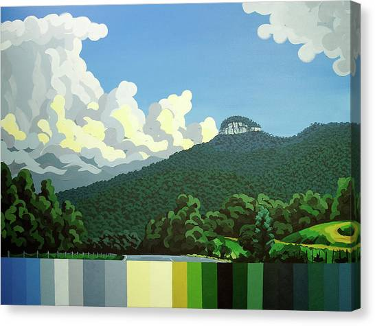 Canvas Print featuring the painting Pilot Mountain - Summer by John Gibbs