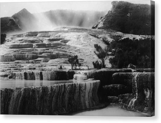 Pink & White Terraces Canvas Print by General Photographic Agency