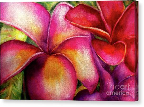 Pink And Red Plumerias Canvas Print