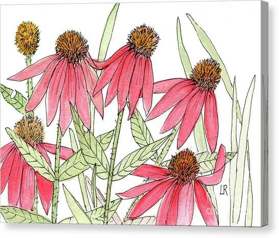 Pink Coneflowers Gather Watercolor Canvas Print