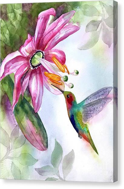 Pink Flower For Hummingbird Canvas Print