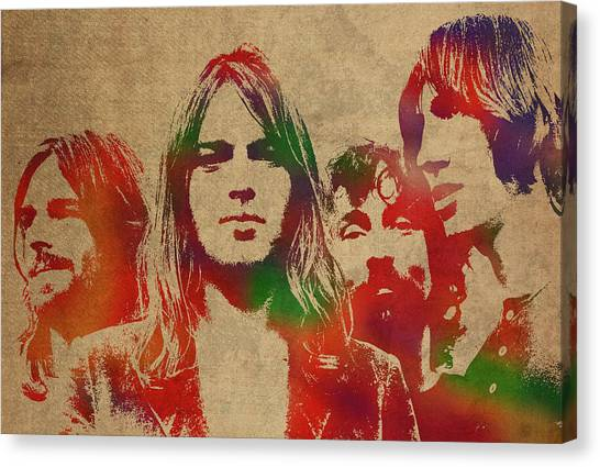 Pink Floyd Canvas Print - Pink Floyd Watercolor Portrait by Design Turnpike