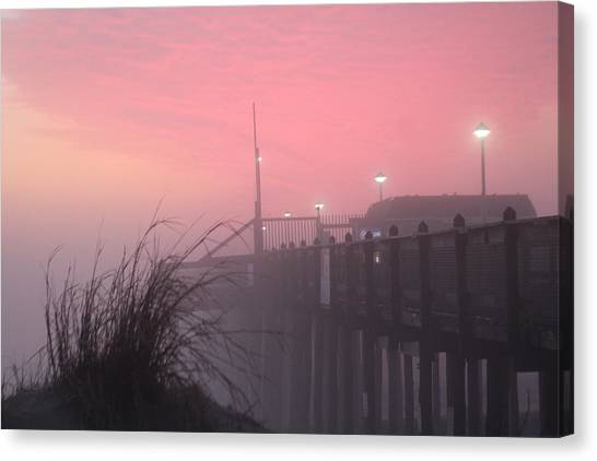 Canvas Print featuring the photograph Pink Fog At Dawn by Robert Banach