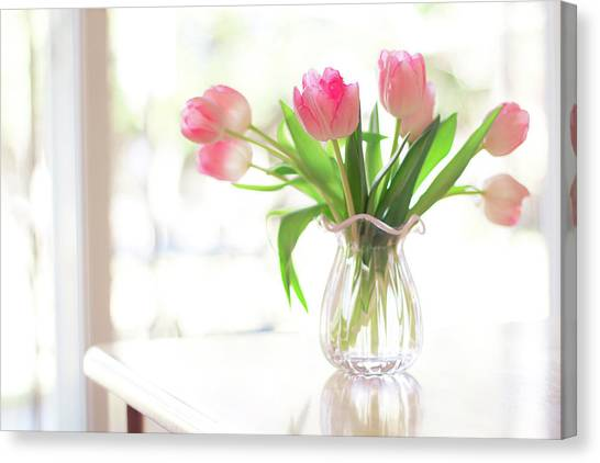Vase Of Flowers Canvas Print - Pink Glass Vase Of Pink Tulips In Window by Jessica Holden Photography