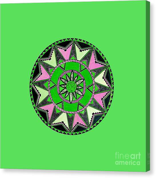 864f7ee19 Polynesian Tribal Canvas Print - pink green Native Maori Mandala by Naomi  Matthew