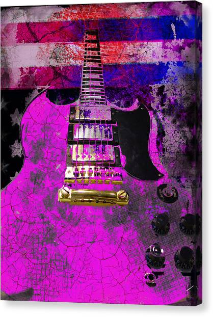 Pink Guitar Against American Flag Canvas Print