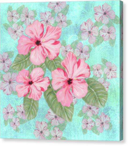 Pink Hibiscus Print On Aqua Canvas Print