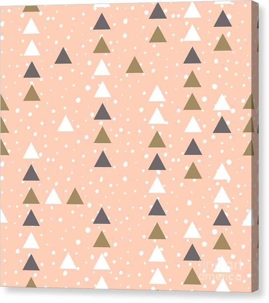 Dots Canvas Print - Pink Hipster Geometrical Seamless by Alenka Karabanova