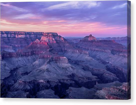 Pink Hues Over The Grand Canyon Canvas Print