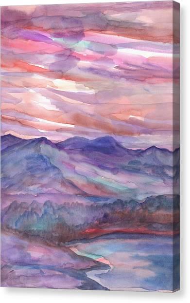 Pink Mountain Landscape Canvas Print