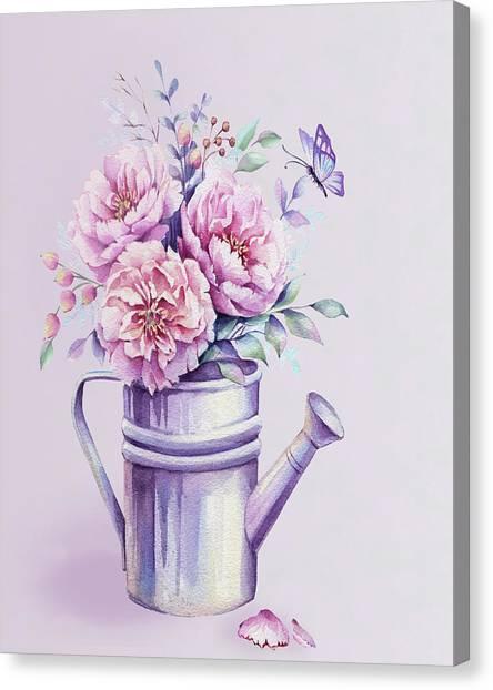 Canvas Print featuring the painting Pink Peonies Blooming Watercolour by Georgeta Blanaru