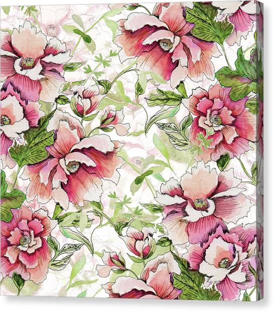 Pink Peony Blossoms Canvas Print