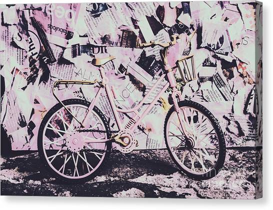 Urban Life Canvas Print - Pink Posterized Pushbike by Jorgo Photography - Wall Art Gallery
