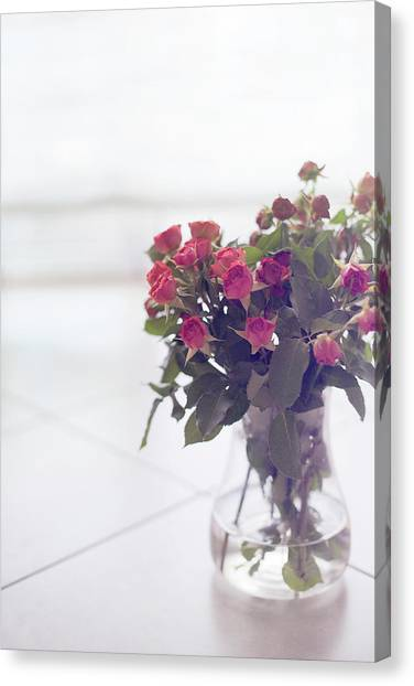 Vase Of Flowers Canvas Print - Pink Roses In Vase by Francesca Guadagnini