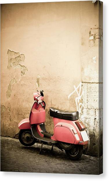 Pink Scooter And Roman Wall, Rome Italy Canvas Print