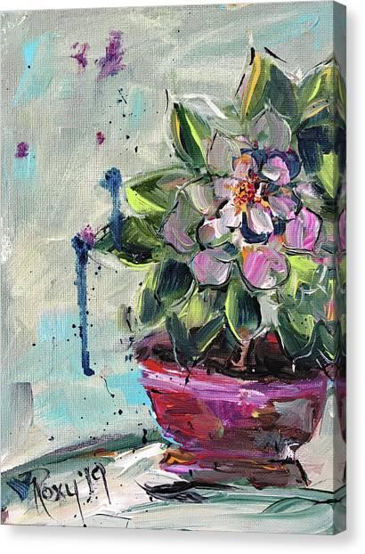 Farmhouse Canvas Print - Pink Succulent by Roxy Rich